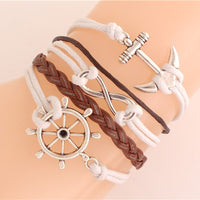 Leather/Suede Charm 'Anchor' Bracelet