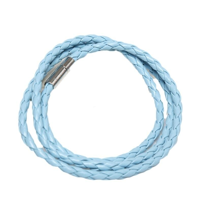 Sky Blue Braided Leather Bracelet / Necklace