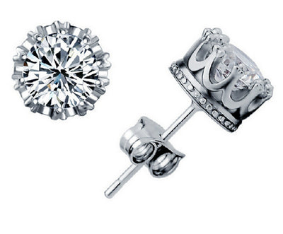 Silver Plated Crystal Cubic Zirconia Stud Earrings