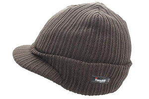 Olive Peaked Thermal Hat