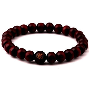 8mm Deep Red Buddha Bead Bracelet