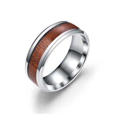 Stainless Steel Wood Ring