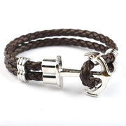 Braided Brown & Silver Anchor Bracelet
