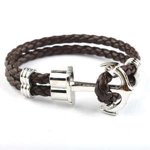 Braided Brown and Silver Anchor Bracelet