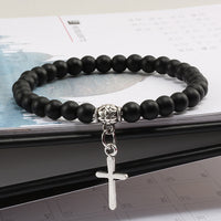 Black Bead Cross Bracelet