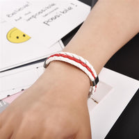 White & Red Leather Bracelet