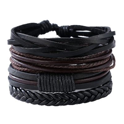 4 Piece Dark Leather Bracelet Set