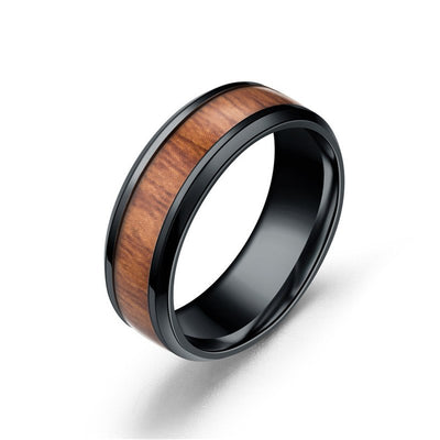 Black Steel Wood Ring