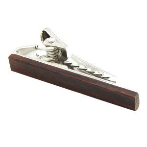 Short Brown wooden tie clip
