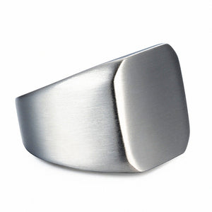 Stainless Steel Silver Signet Ring