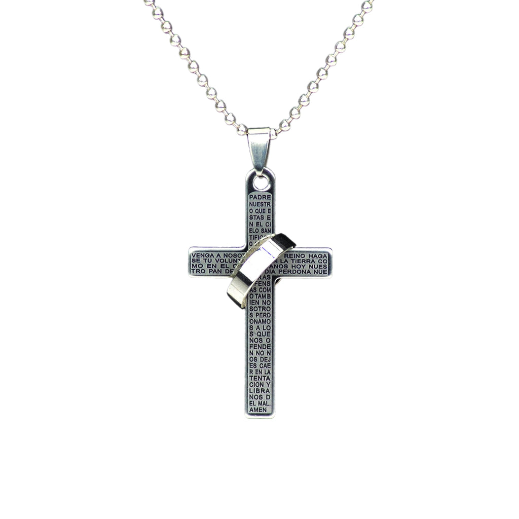 Spanish Lords Prayer Silver Cross Necklace