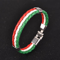 Red, Green and White Leather Bracelet