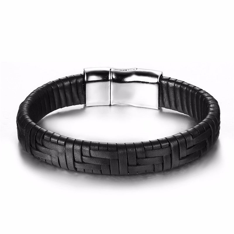 Black Leather Weave Bracelet