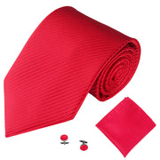 Red Lined Tie, Pocket Square & Cufflink Set