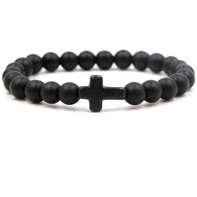 Matt Black Bead Cross Bracelet