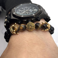 Gold Crown & Orb Bead Bracelet