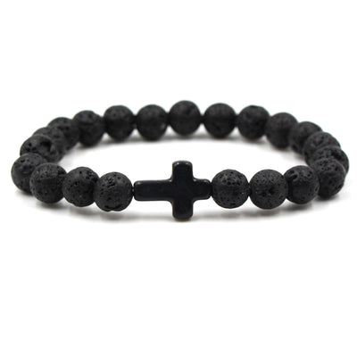Black Lava Bead Cross Bracelet