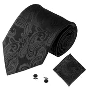 Black Jacquard Tie, Pocket Square & Cufflink Set
