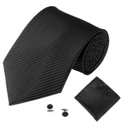 Black Lined Tie, Pocket Square & Cufflink Set