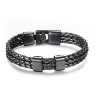 Black Triple Leather Bracelet