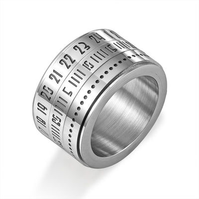 Steel Silver Numeral Dial Ring