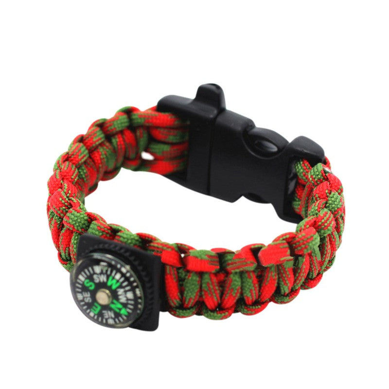 Red & Green Compass Paracord Bracelet
