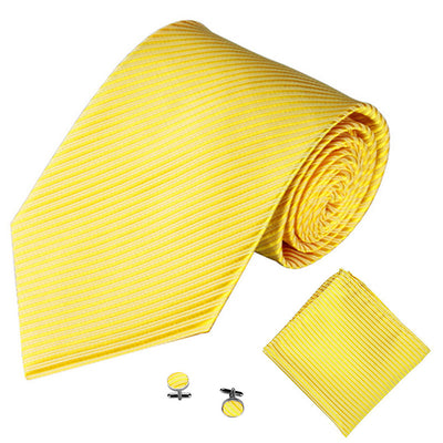 Yellow Lined Tie, Pocket Square & Cufflink Set
