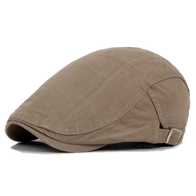 Khaki Cotton Flat Cap