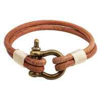 Brown Leather and Brass Bracelet