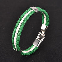 Green and White Leather Bracelet