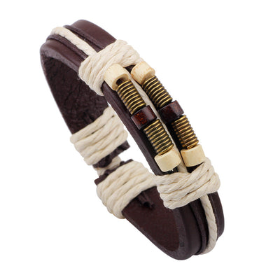 Brown Leather & Rope Bracelet