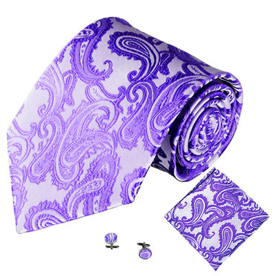Lilac Jacquard Tie, Pocket Square & Cufflink Set