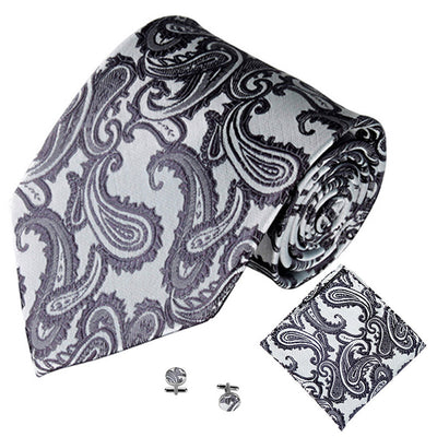 Grey Jacquard Tie, Pocket Square & Cufflink Set