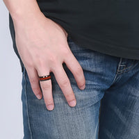Black Steel Wood Ring UK