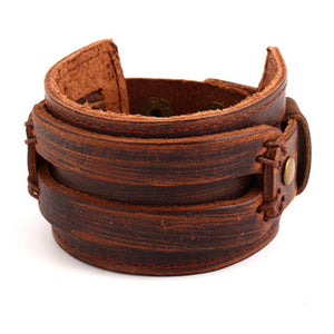 Brown Leather 2 Striped Cuff Bracelet