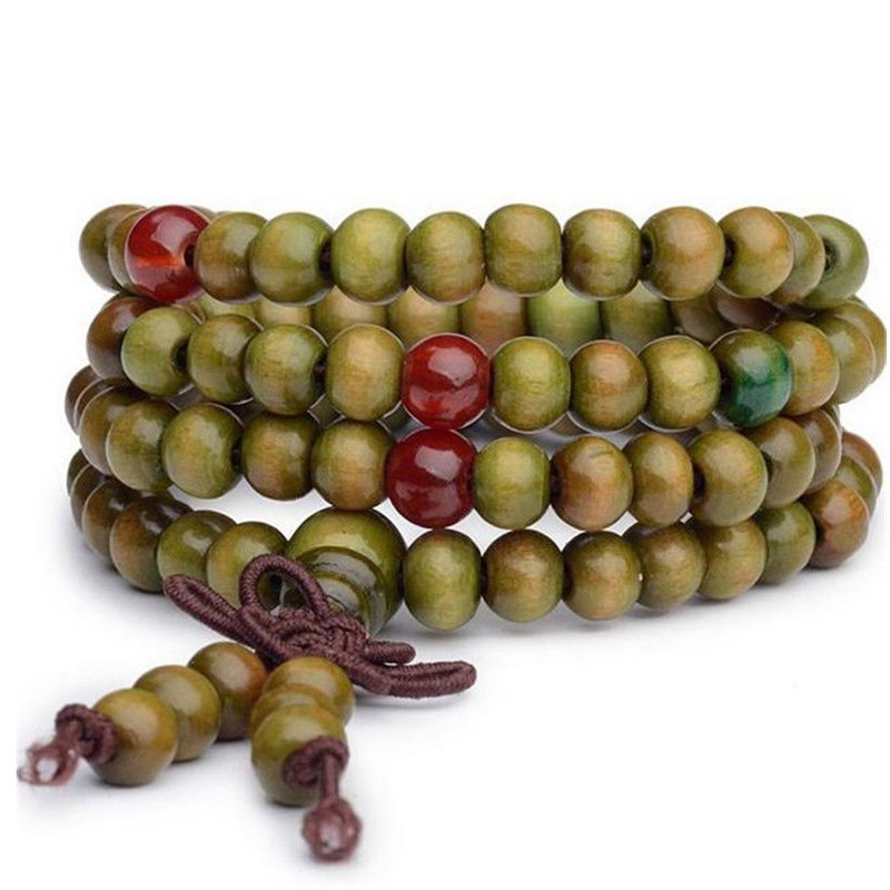 Multilayer Green Buddha Bead Bracelet