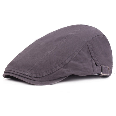 Grey Cotton Flat Cap