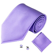 Lilac Lined Tie, Pocket Square & Cufflink Set