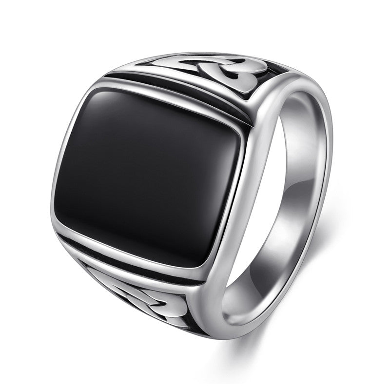 Stainless Steel Silver & Black Signet Ring