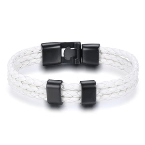 White Triple Leather Bracelet