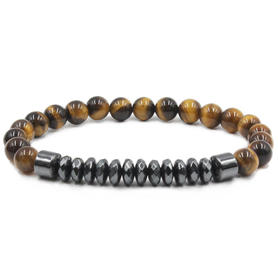 tigers eye hematite bead bracelet