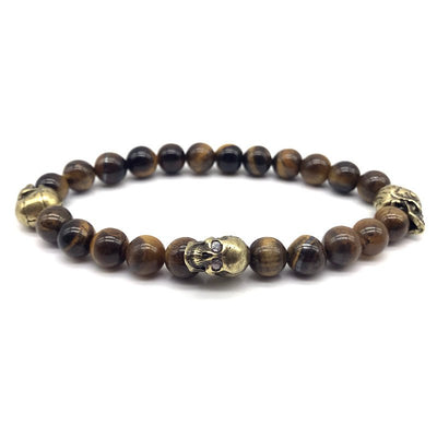 Three Skull Beaded Bracelet