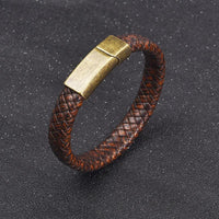 Brown Leather Magnetic Bronze Clasp Bracelet