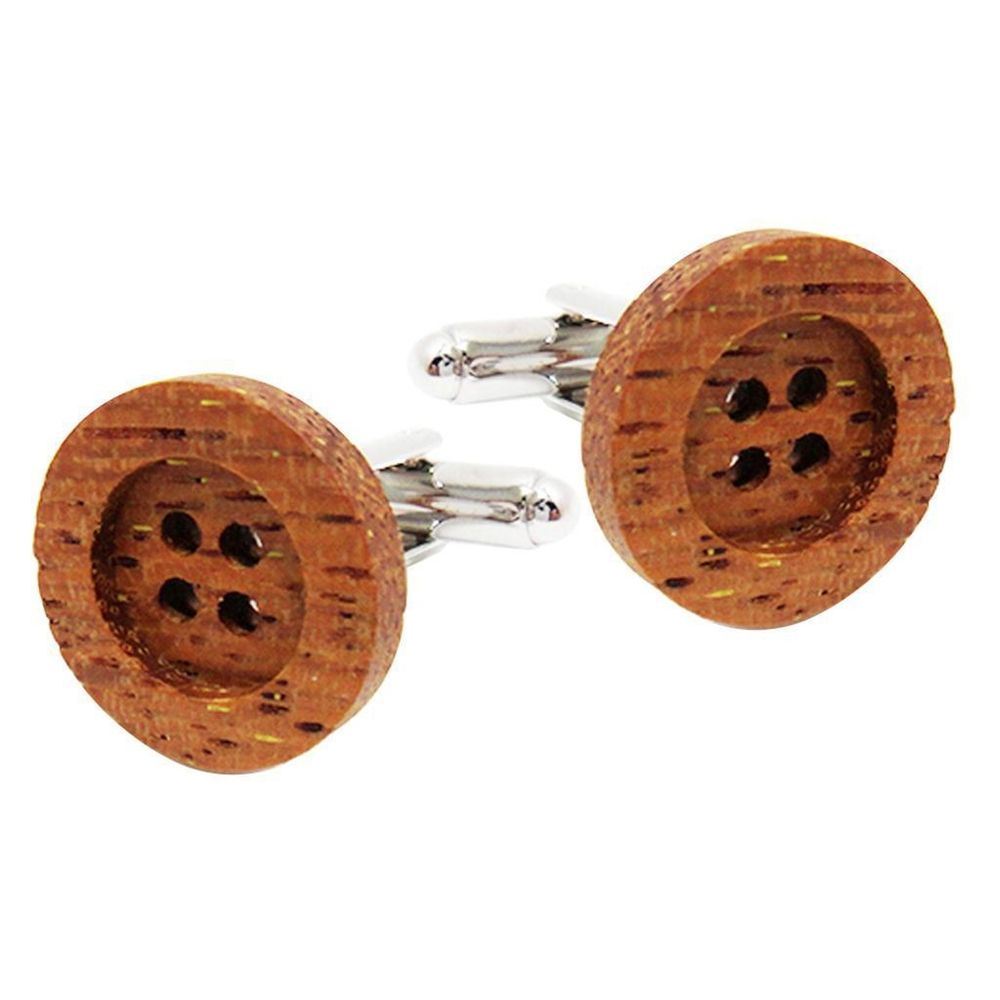 Wooden Button Cufflinks UK