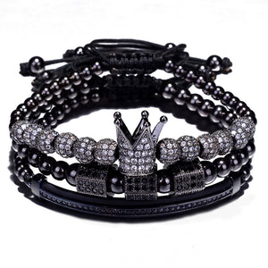 Triple Dark Silver Crown Bracelet Set