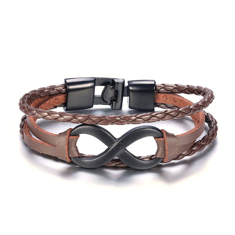 Brown Triple Leather Hoop Bracelet