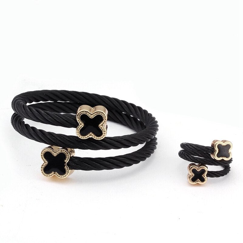 Black Cross Steel Twist Bracelet & Ring Set