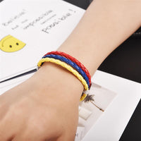Red, Yellow and Blue Leather Bracelet