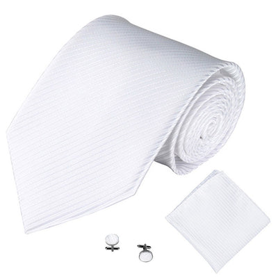 White Lined Tie, Pocket Square & Cufflink Set