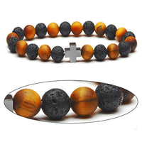 Tigers Eye & Lava Bead Cross Bracelet